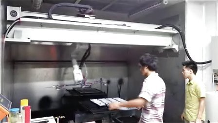 喷涂机器人+三工位转台喷涂