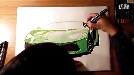 兰博基尼Aventador超写实汽车手绘  意翔工业设计手绘推荐