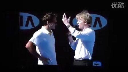 费德勒2011澳网 R4 vs 罗布雷多 赛后场上访问