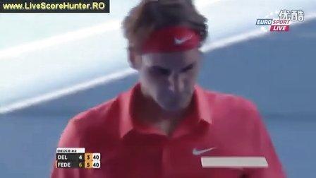 2012澳网QF费德勒vs德波特罗 第2盘最后一局