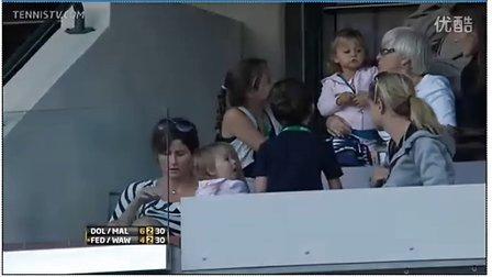2011印地安赛双打决赛费德勒双胞胎宝宝和米尔卡在现场