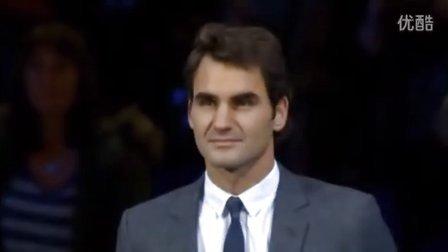 费德勒在2013伦敦大师杯帅气领取3个ATP奖
