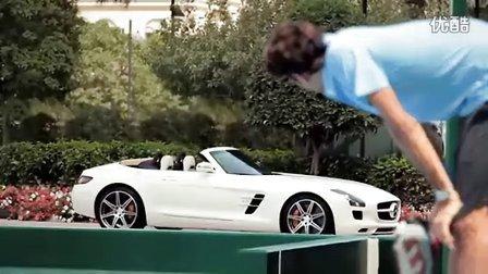 2011费德勒为Mercedes Benz奔驰SLS AMG拍摄广告幕后花絮