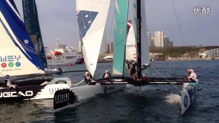 路虎2014极限帆船赛(青岛站)盖克品达队与极限青岛队相撞