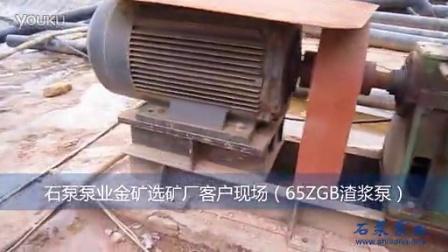 65ZGB渣浆泵 石泵泵业金矿选矿厂客户现场