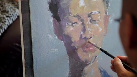 刘沧海水粉头像示范——男青年头像