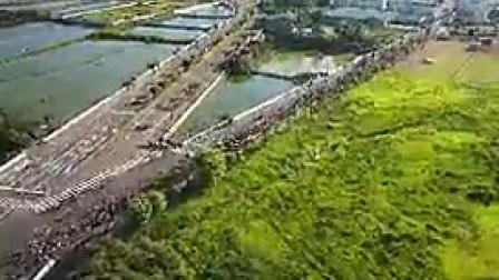 K011千人马拉松航拍人群人潮