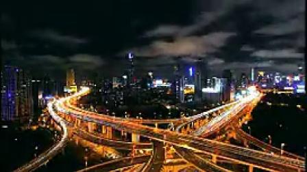 P005城市夜景灯光与车流