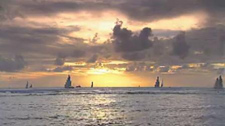 X003海上帆船小船落日余晖唯美风光