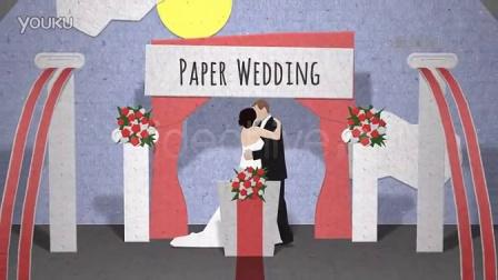 纸片翻页婚礼婚庆介绍AE模板