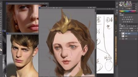 温柔一刀火熊网第四节-头像刻画-角色头像的刻画绘制流程演示