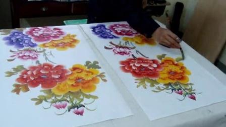 两幅中堂牡丹花一起画的作画过程