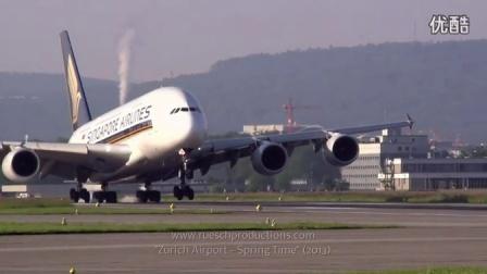 【航空精品】非常壮观的慢镜头着陆(有A380,A340,A330)_超清