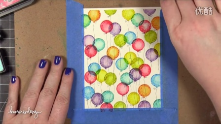Stamped Distress Ink Background Birthday Card