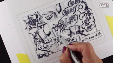 Stamped Comic Strip Card, ft Crazy Birds by Tim Holtz