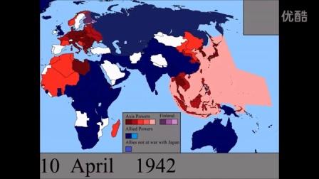 第二次世界大战 轴心国 VS 同盟国 势力变化/每天