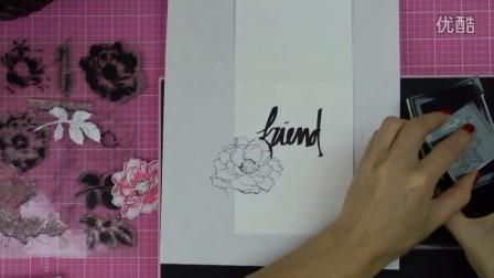 Altenew Stamped & Masked Floral Background