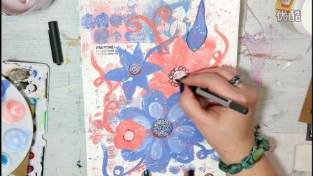 Doodle Artjournal Page - Pantone #ColorOfTheYearArt - Rose Quartz & Serenity