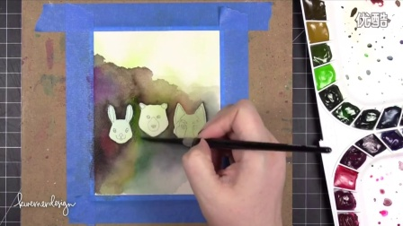 Watercoloring a Masculine Card, Trying out new watercolors (Mijello Mission Gold
