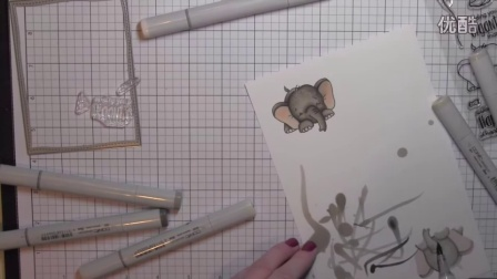Whimsy Stamps - Sketched Elephants 'Thanks' Card