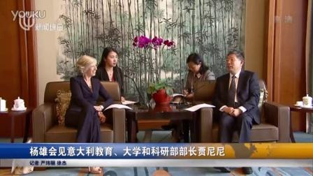 杨雄会见意大利教育、大学和科研部部长贾尼尼 新闻夜线 160421_高清