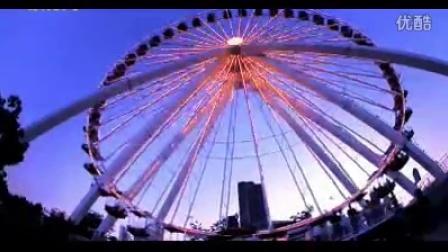 城市娱乐摩天轮缓缓转动夜景特写 高清实拍视频素材