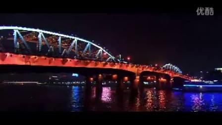 亚洲城市高清实拍-铁桥水面轮渡灯光夜景