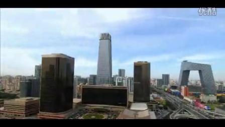 航拍北京城市风光城市高楼大厦夜景天安门公交桥车流人...