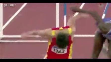 2004刘翔雅典奥运会百米跨栏夺冠高清实拍视频素材