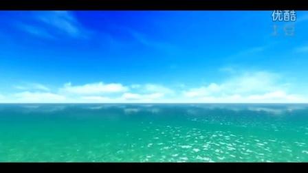 蔚蓝色的蓝天大海 一群海鸥飞翔美景 舞台背景视频