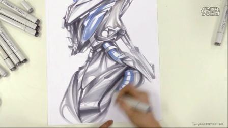 工业设计马克笔手绘表达——概念机器人头设计