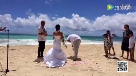 这是不愿意吗?婚礼现场新娘宣读誓词 新郎听后竟当场呕吐