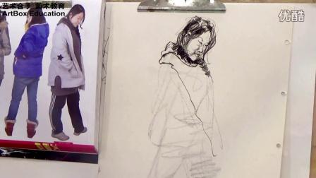 上海艺术合子美术教育罗荣志速写站姿课堂示范1