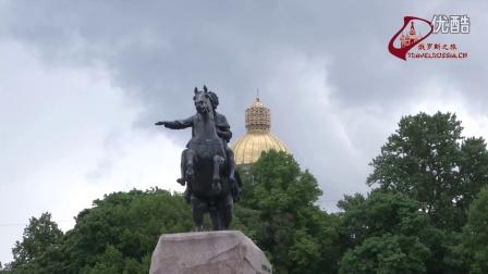 圣彼得堡。青铜骑士。视频片段