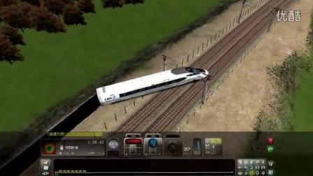 模拟380D严重超速通过限速160有砟轨道弯道导致出轨事故