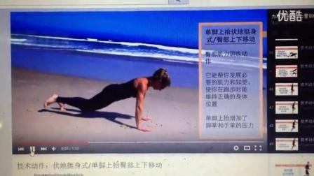 45技术动作:伏地挺身式单脚上抬臀部上下移动_高清