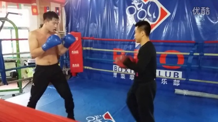 全运会冠军李超指导沈阳搏荣张成博勾拳手靶训练