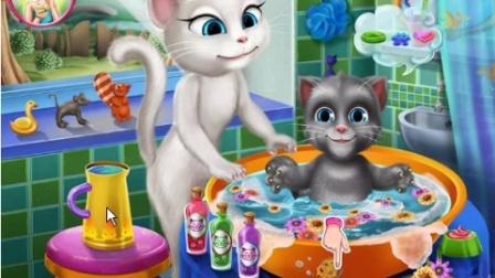 209.安吉拉给宝贝洗澡 汤姆猫 亲子游戏 儿童游戏 大侠笑解 猪猪侠 小猪佩奇