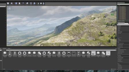虚幻4风筝Demo编辑器内运行,几十平方公里的山区风景