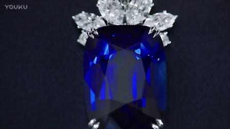 海瑞温斯顿蓝宝石钻石垂坠项链