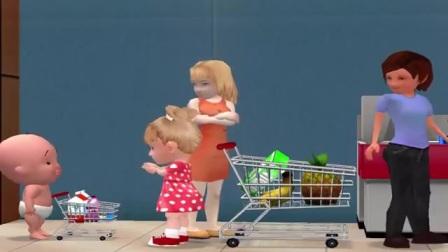 孩子在超市购物,有趣的经历