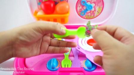 厨房玩具为孩子设置——厨房玩具削减维可牢水果蔬菜煮汤玩具食品