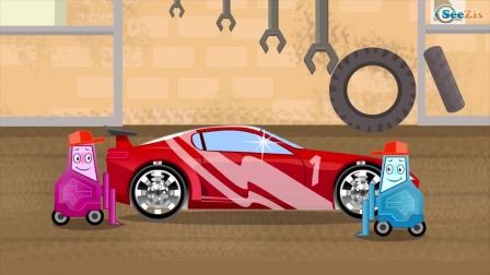为孩子们在汽车卡通视频中为孩子们学习颜色