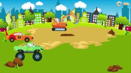 大红色卡车在城市里辛勤工作