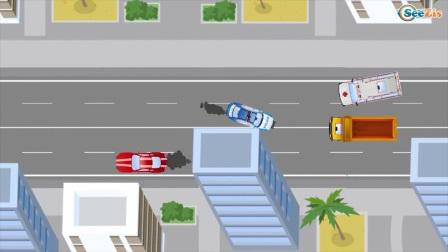 新开的消防车和警车巡逻儿童车卡通儿童二维车和卡车