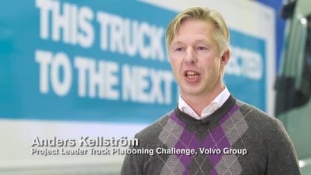 Volvo self-driving truck platoon in the European Truck Platooning Challenge