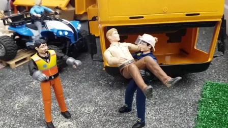 布鲁德玩具卡车施工现场,为孩子们制作的沙运输视频