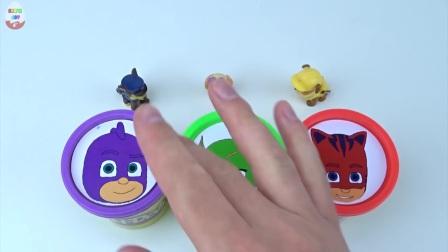 杯子惊奇玩具玩Doh黏土PJ面具,用爪子巡逻收集彩虹学习英语的颜色