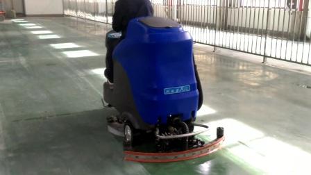 瑞捷X8电动驾驶式洗地机清洗车间内环氧漆地面及瓷砖地面