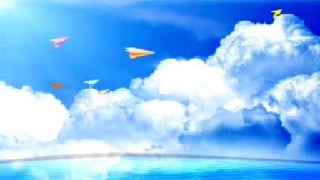 L6532-清新唯美蓝天白云海平面光效星光纸飞机飞翔舞台背景视频素材
